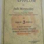 Dyplom 3 miejsce w etapie rejonowym Olimpiady